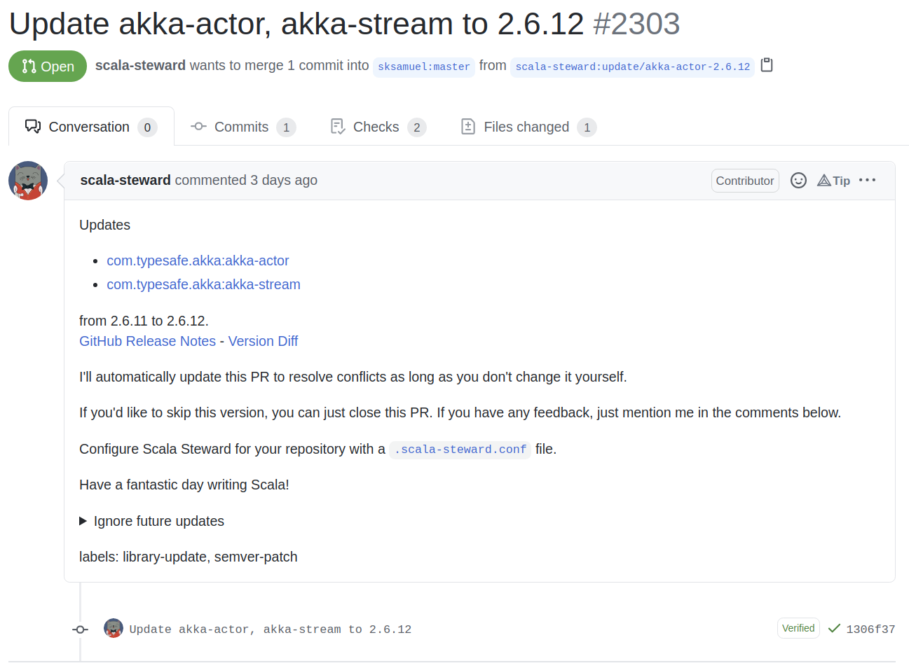 A scala steward pull request updating akka-actor and akka-stream in the elastic4s repo